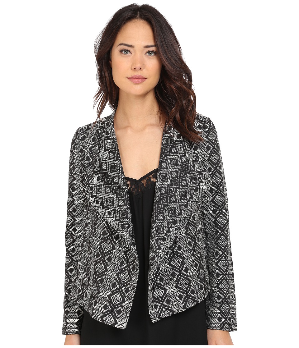 Jack by BB Dakota - Penelope Woven Jacquard Draped Front Jacket (Black) Women's Jacket