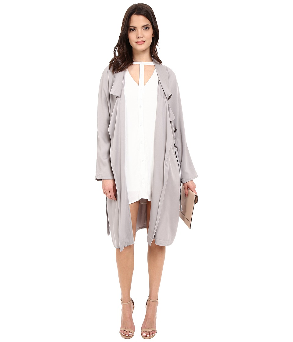 Jack by BB Dakota - Martha Draped Rayon Twill Longline Trench Coat (Strorm Grey) Women's Coat