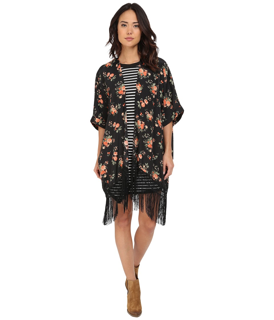 Jack by BB Dakota - Rosalynn Rose Revival Printed Crepon and Black Fringe Kimono (Multi) Women's Clothing