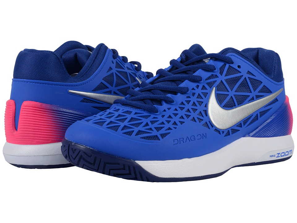 Nike Zoom Cage 2 (Racer Blue/Deep Royal Blue/White/Metallic Silver) Women
