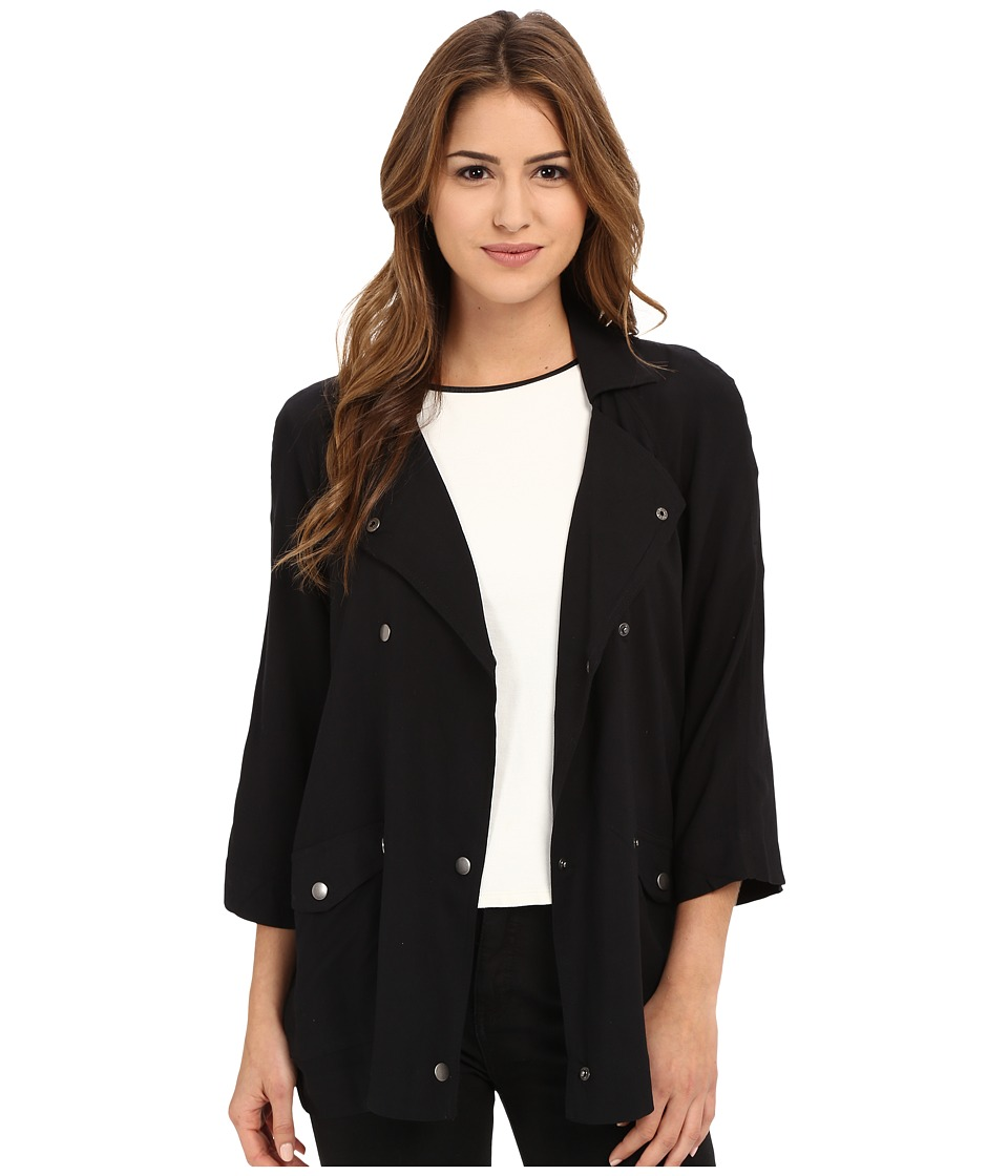 Jack by BB Dakota - Mildred Rayon Challi Snap Front Jacket (Black) Women's Jacket