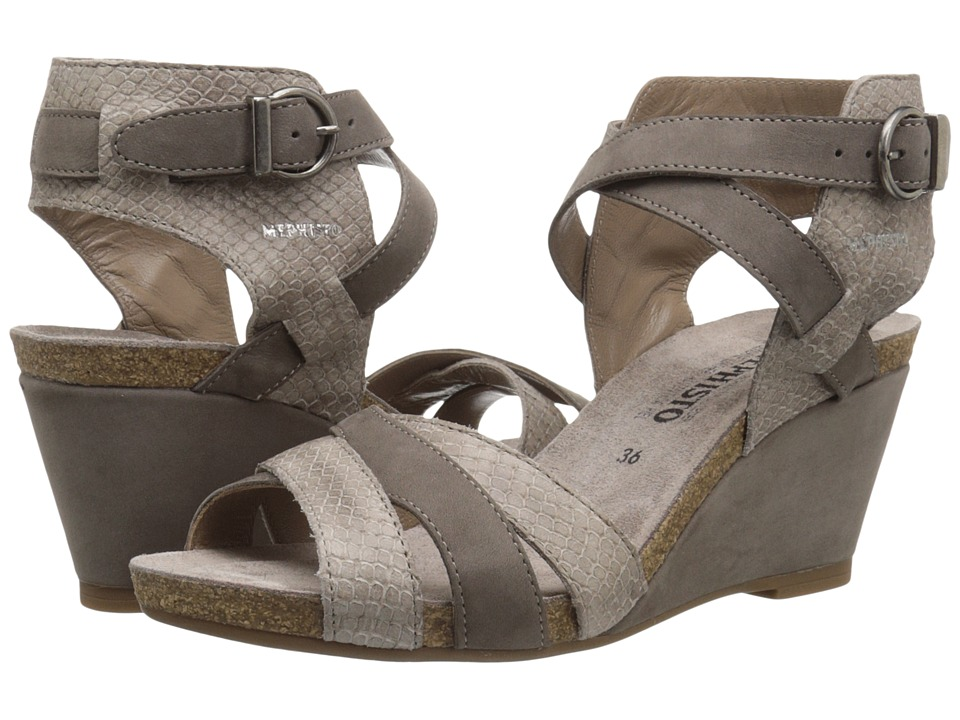 Mephisto - Jorine (Pewter Bucksoft/Dark Taupe Mamba) Women's Wedge Shoes