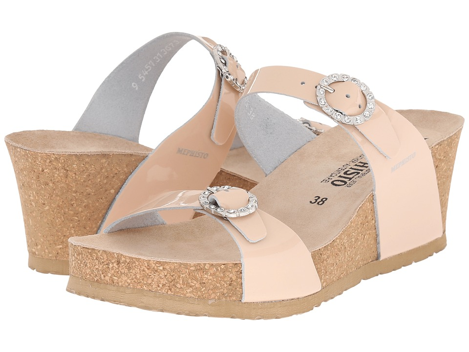 Mephisto - Lidia (Nude Patent) Women's Wedge Shoes