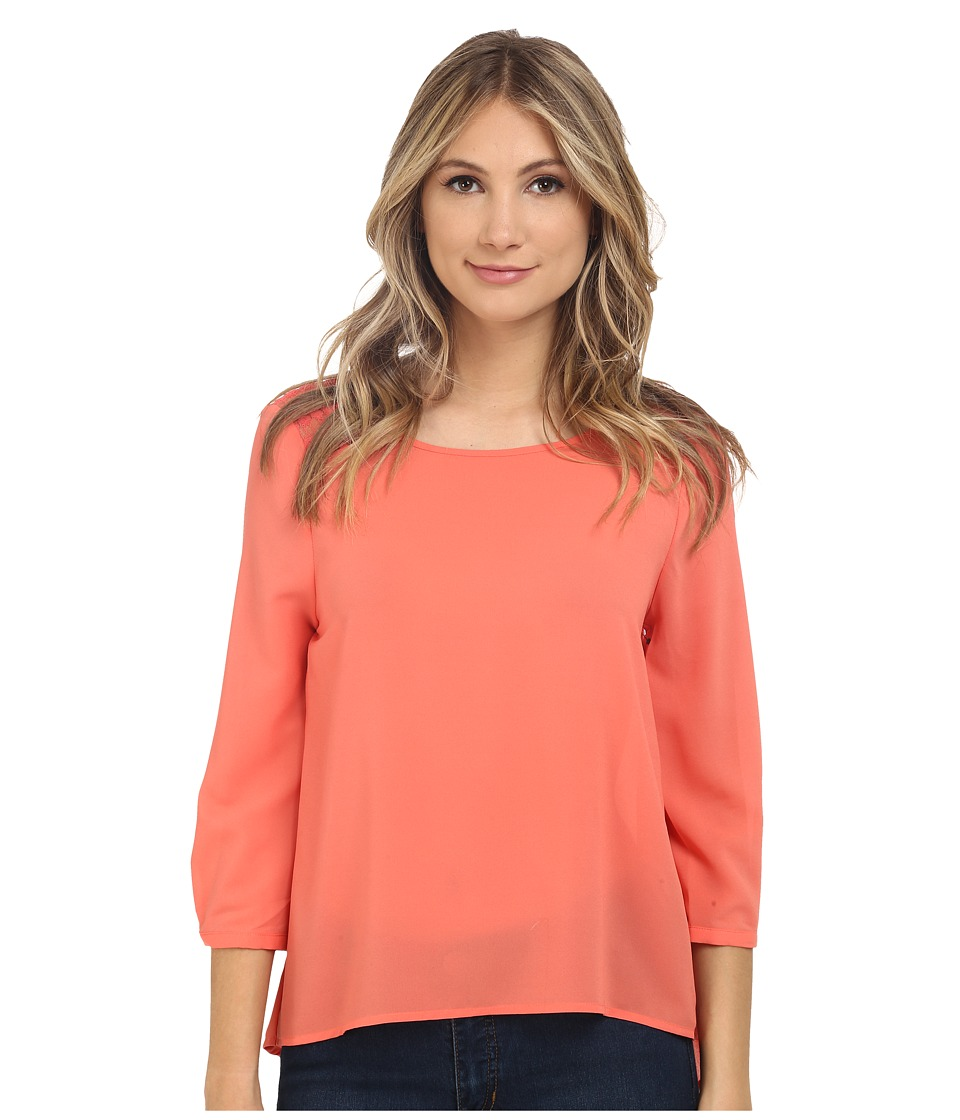 Jack by BB Dakota - Paula CDC and Lace Yoke Top (Deep Sea Coral) Women's Blouse