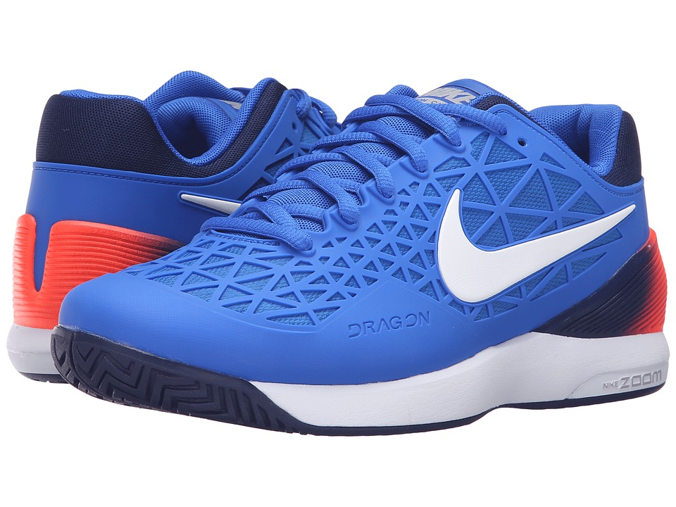 Nike - Zoom Cage 2 (Laser Orange/Black/White/Gamma Blue/Black/White) Men's Tennis Shoes