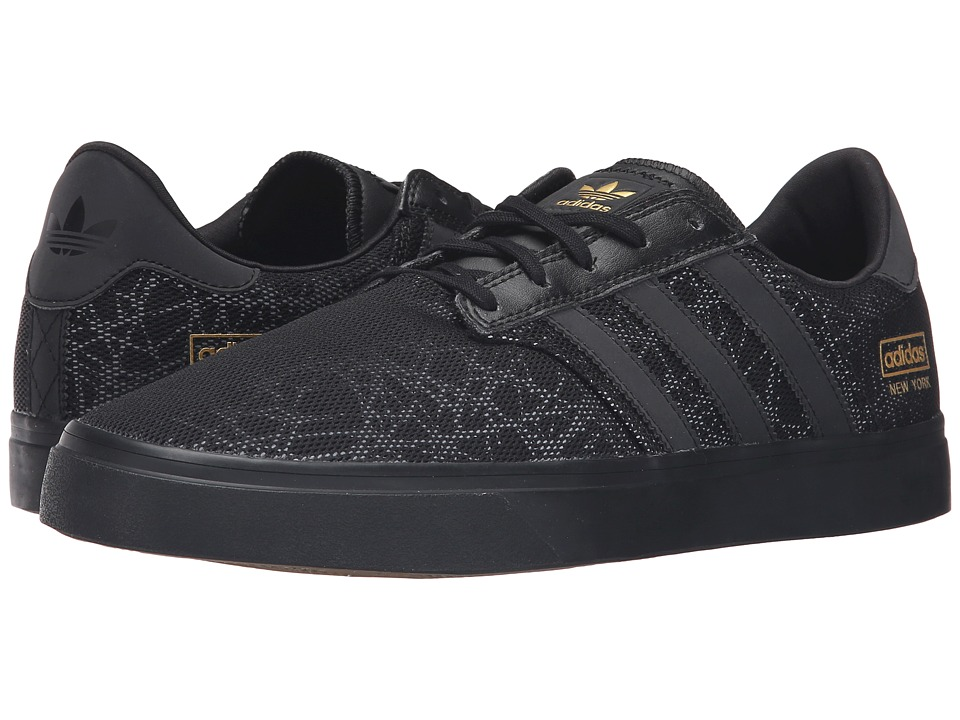 adidas Skateboarding - Seeley Premiere City Series - New York (Black/Black/Gold Metallic) Men's Skate Shoes