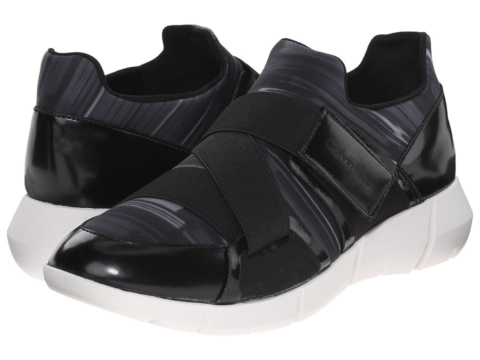 Calvin Klein - Willia (Black/White Neoprene/Box Leather) Women's Hook and Loop Shoes