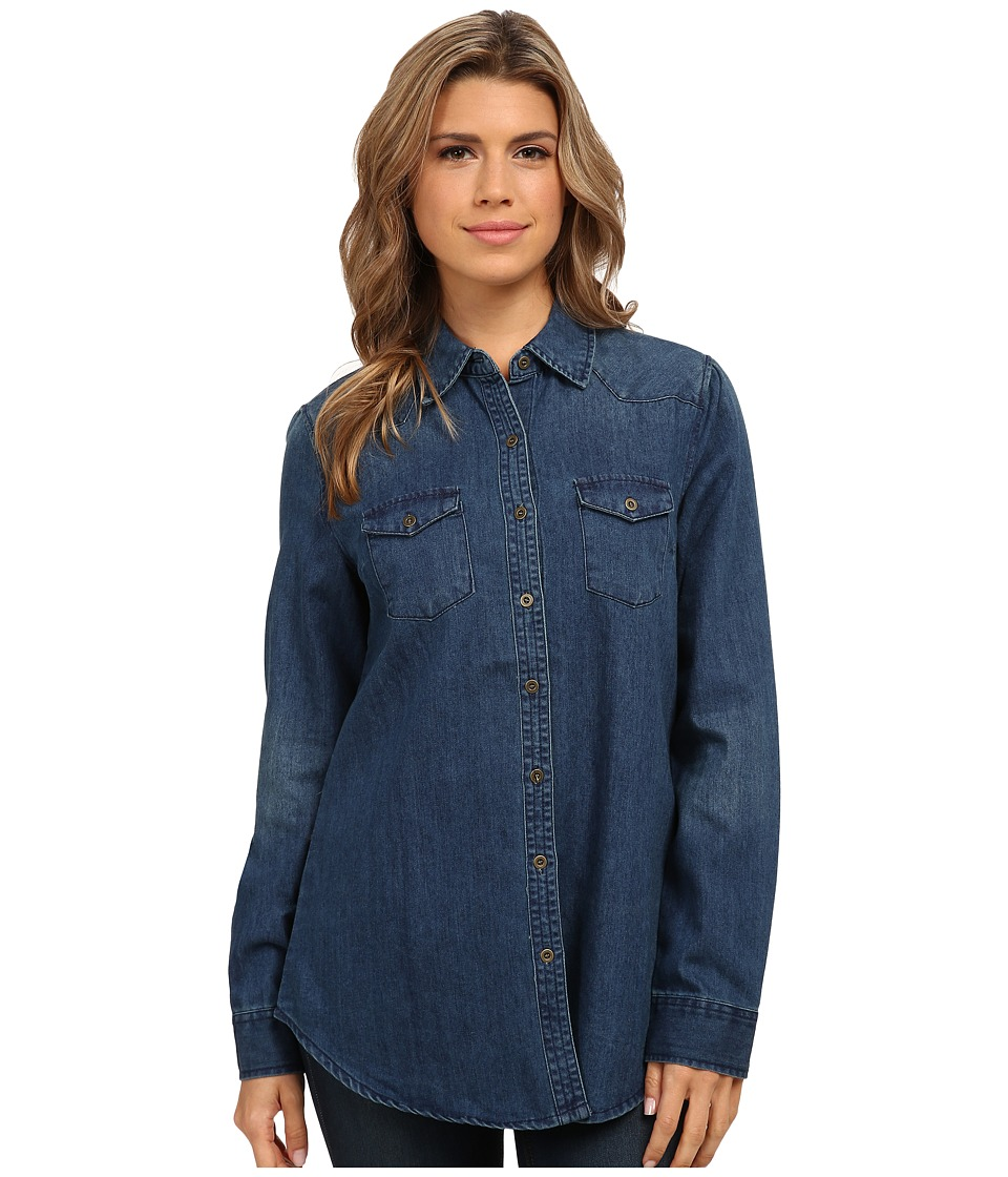 Angie - Long Sleeve Button Up Shirt (Denim) Women's Long Sleeve Button Up