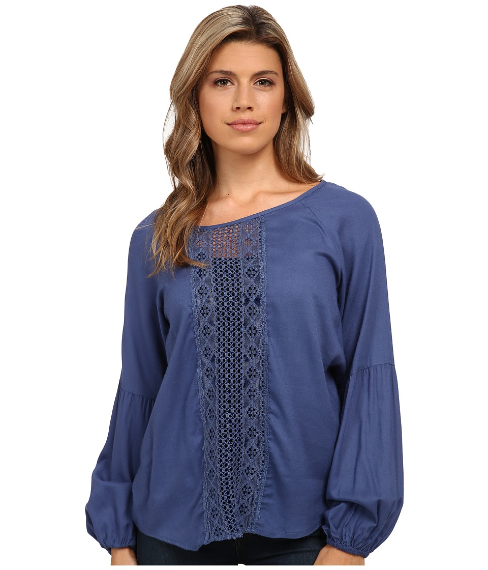 Angie - Long Sleeve Solid Peasant Top (Ink Blue) Women's Clothing