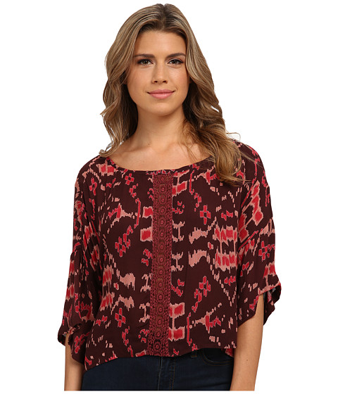 Angie - Dolman Sleeve Print Top (Brick Red) Women's Clothing