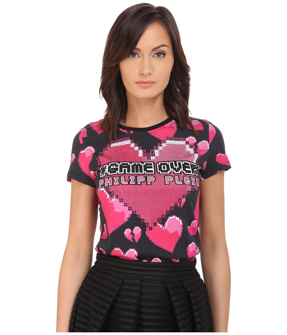 Philipp Plein - Heart T-Shirt (Black/Pink) Women's T Shirt
