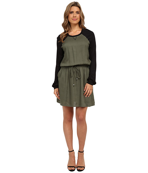 Angie - Long Sleeve Dress (Olive) Women's Dress
