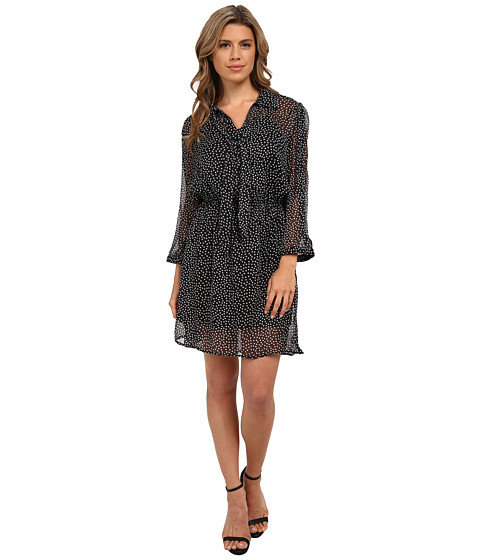 Angie - Long Sleeve Print Dress (Black) Women