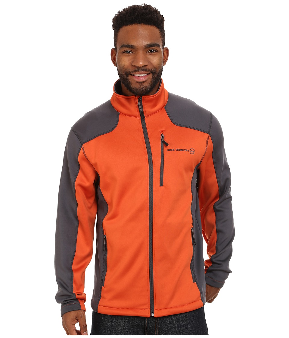 Free Country - Microtech Stretch Fleece (Strike Orange/Charcoal) Men's Fleece