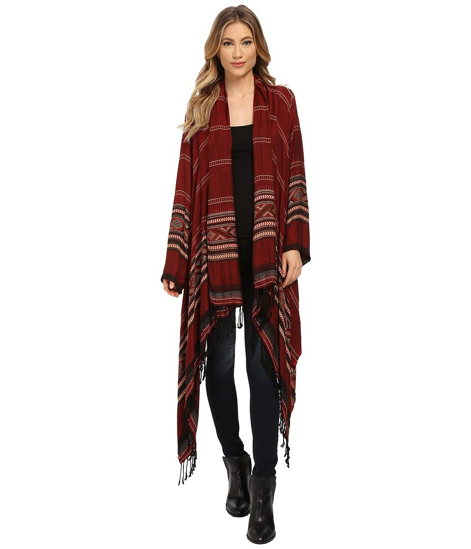 Angie - Print Kimono Top (Rust) Women's Sweater