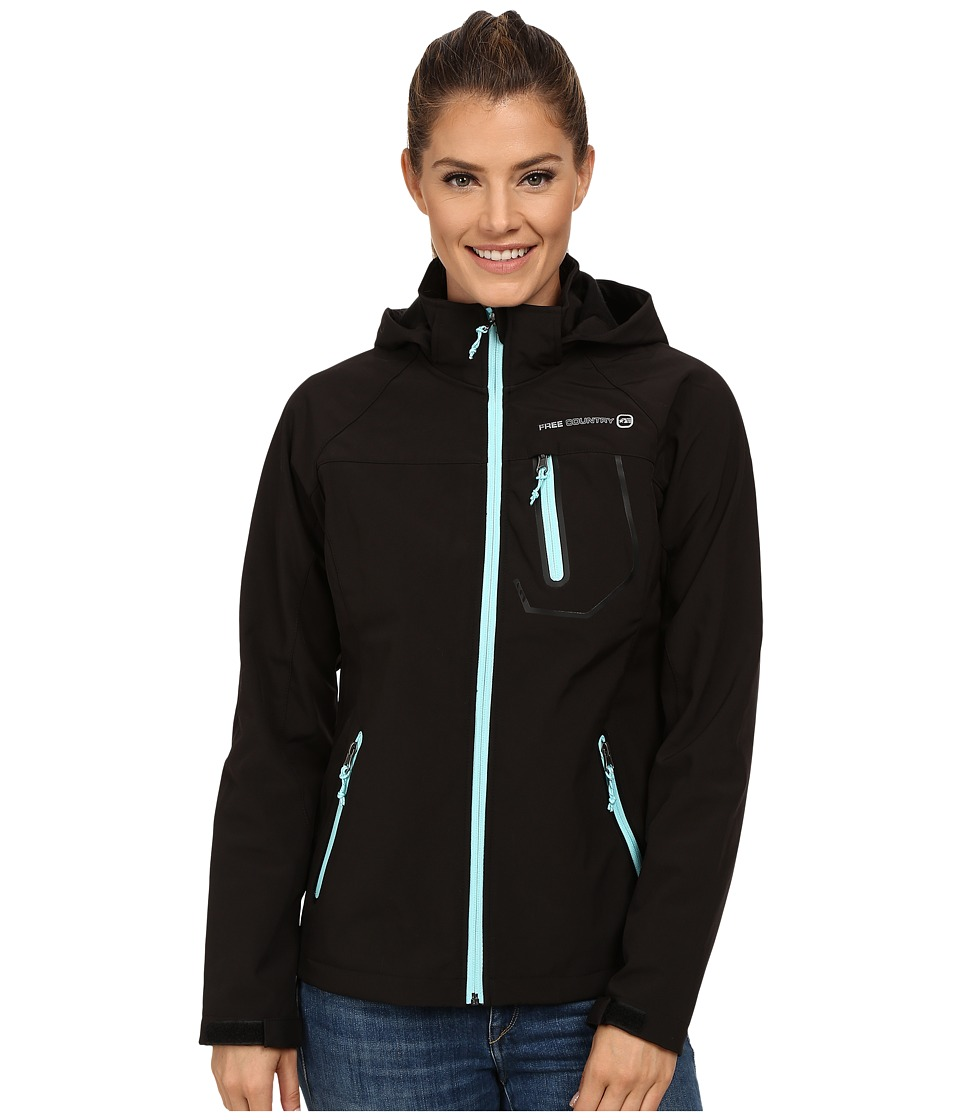 Free Country - Classic Softshell (Black/Black Whisper Blue Trim) Women's Clothing