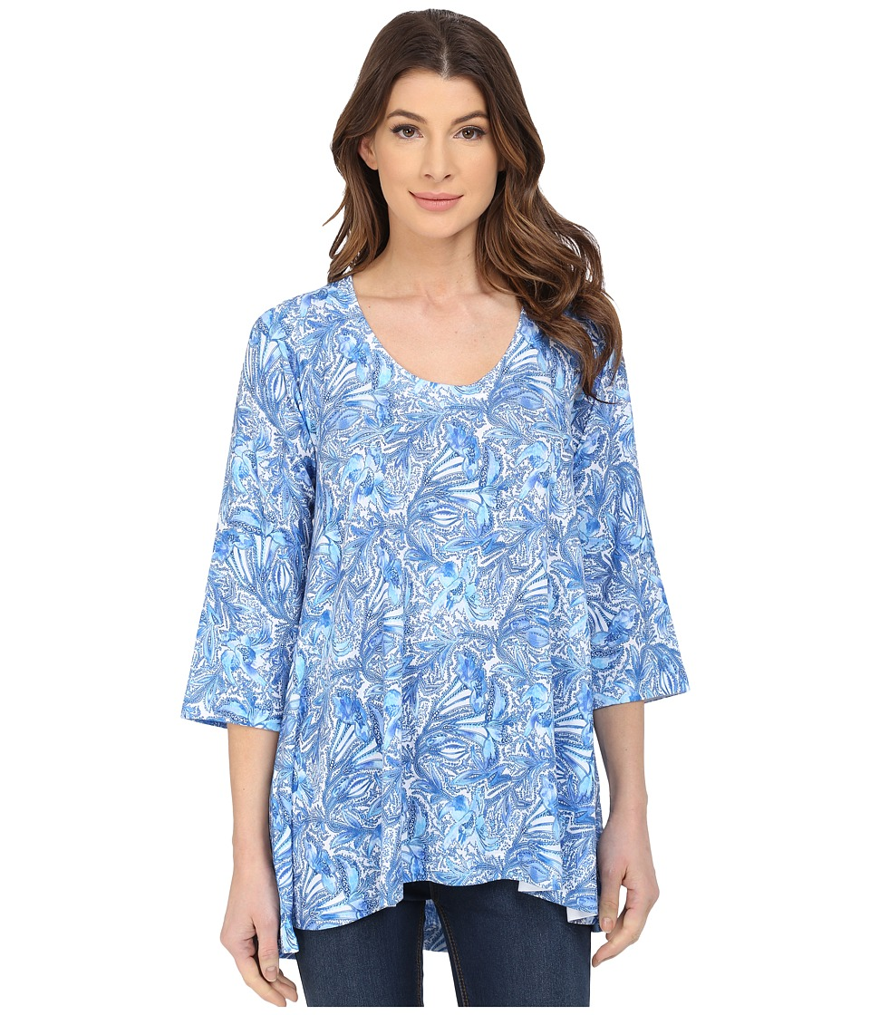 Nally & Millie - Ditsy Floral Tunic (Blue) Women's Blouse