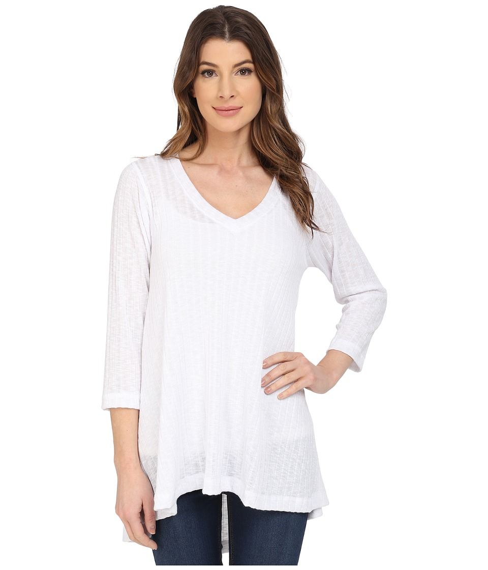 Nally & Millie - V-Neck Ribbed Tunic (White) Women's T Shirt