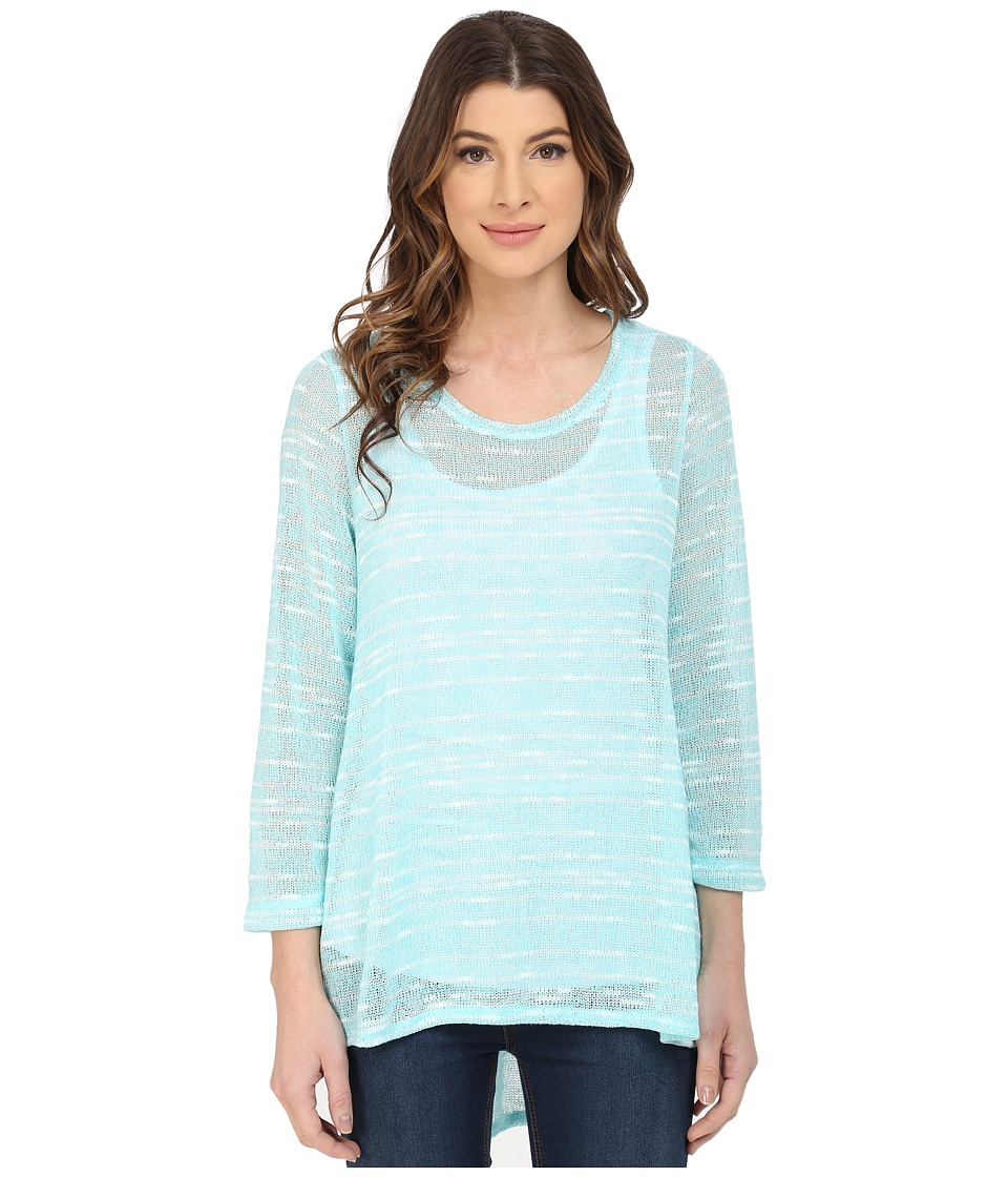 Nally & Millie - Tunic Set with Pleated Back and Removable Layer (Aqua) Women's Sweater