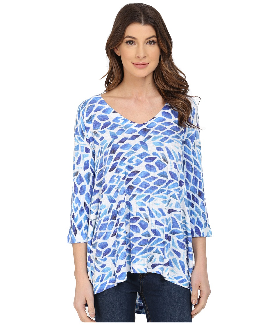 Nally & Millie - Blue White Ribbed Tunic (Multi) Women's Blouse