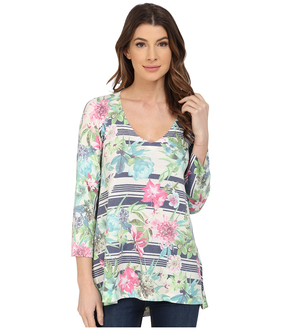 Nally & Millie - Floral Stripe Tunic (Multi) Women's Blouse