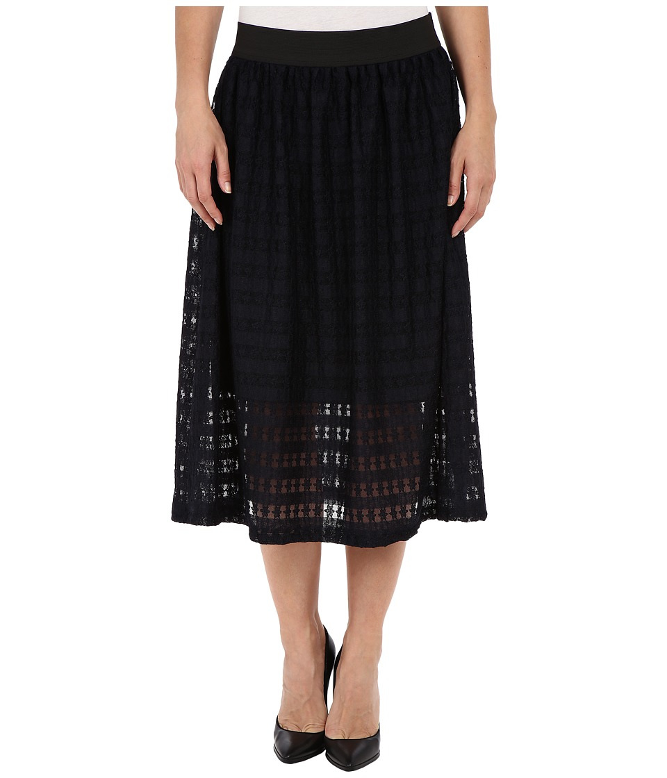 Nally & Millie - Lace Elastic Waist Fully Lined Skirt (Navy) Women's Skirt