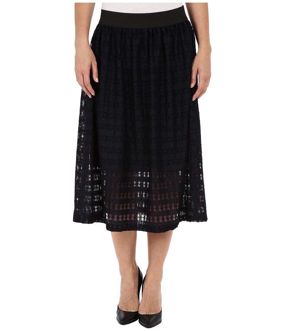 Nally & Millie Lace Elastic Waist Fully Lined Skirt (Navy) Women