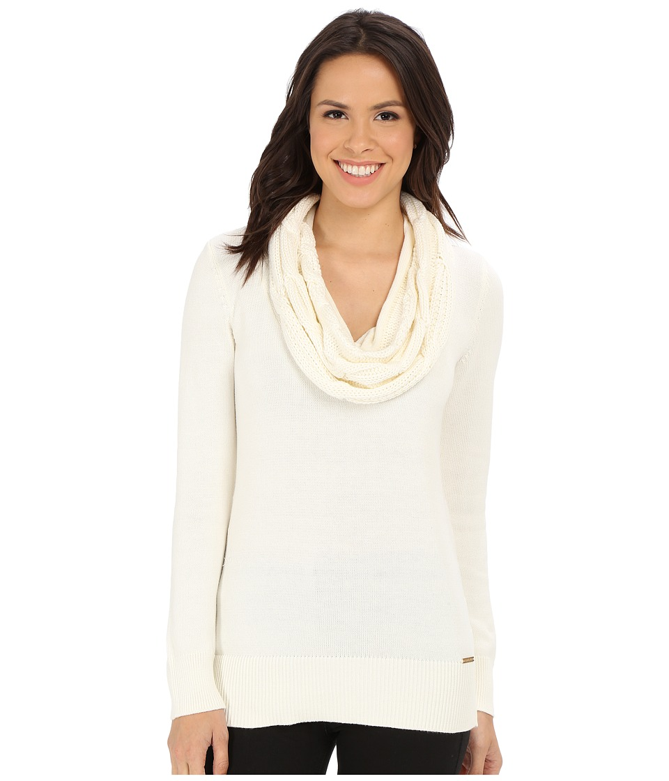 MICHAEL Michael Kors - Deep Cable Cowl Neck (Cream) Women's Sweater