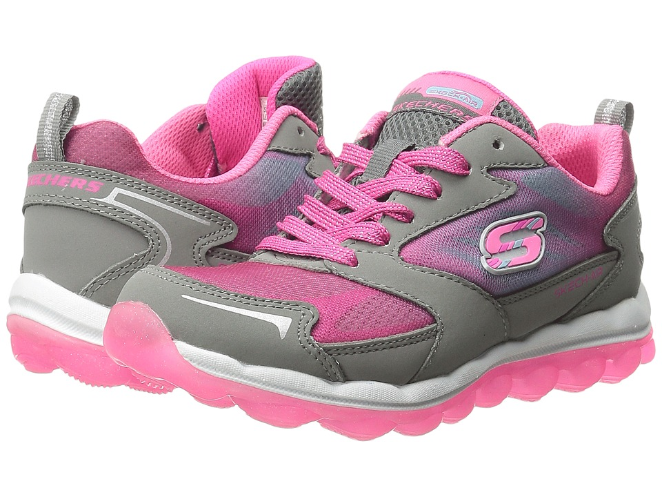 SKECHERS KIDS - Skech Air (Little Kid/Big Kid) (Grey/Pink/Hot Pink) Girl's Shoes