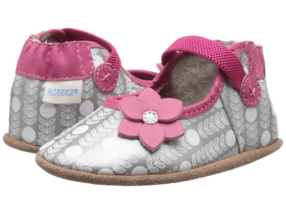 Robeez - Becca Mary Jane Soft Sole (Infant/Toddler) (Grey) Girls Shoes