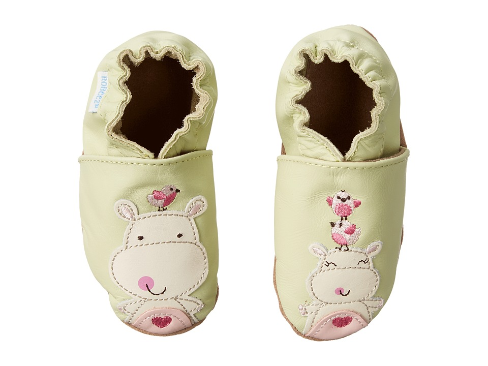 Robeez - Happy Hippos Soft Sole (Infant/Toddler) (Pastel Green) Girls Shoes