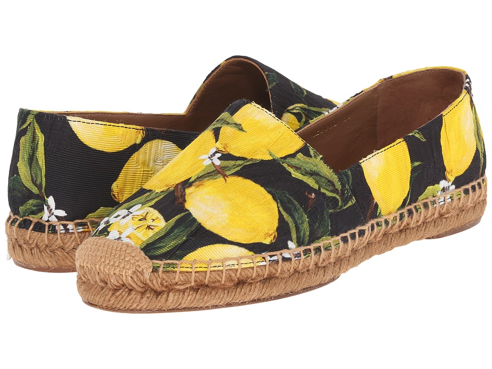 Dolce & Gabbana - Espadrillas Broccato (Limoni/Fondo/Nero) Women's Shoes