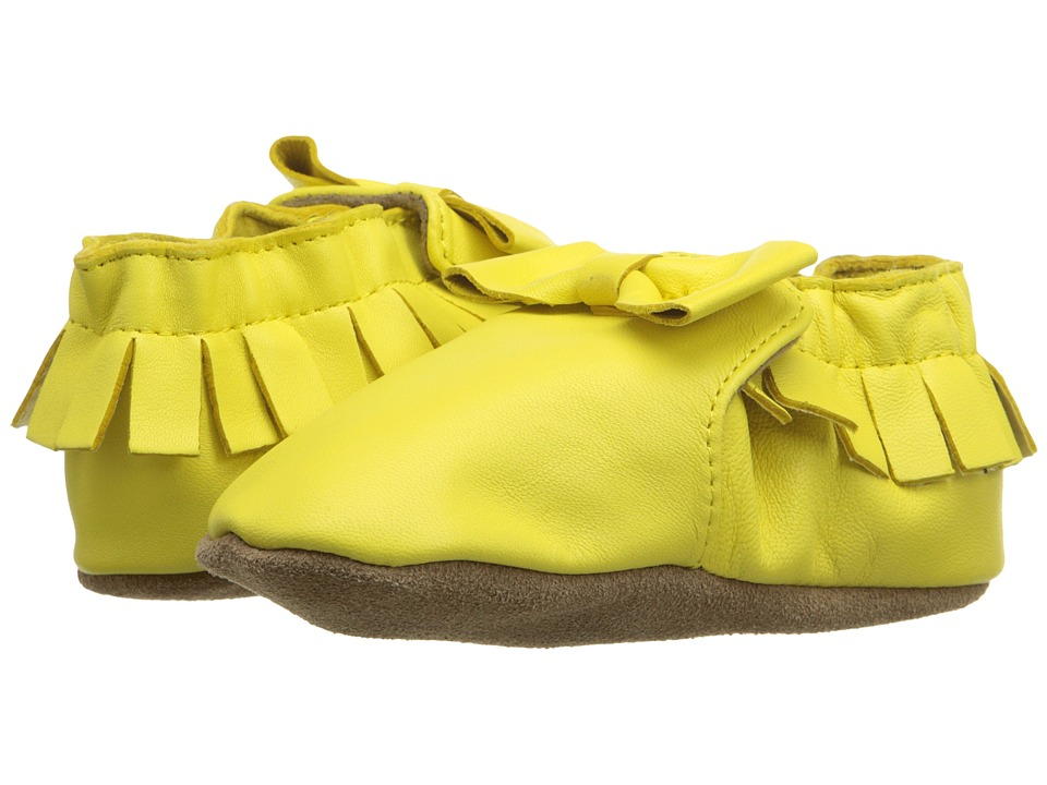 Robeez - Premium Leather Maggie Moccasin Soft Sole (Infant/Toddler) (Yellow) Girls Shoes