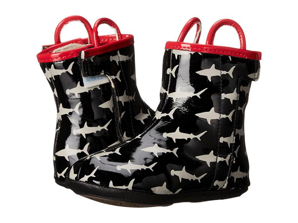 Robeez - Shark Bite Rain Boot Mini Shoez (Infant/Toddler) (Black) Boys Shoes
