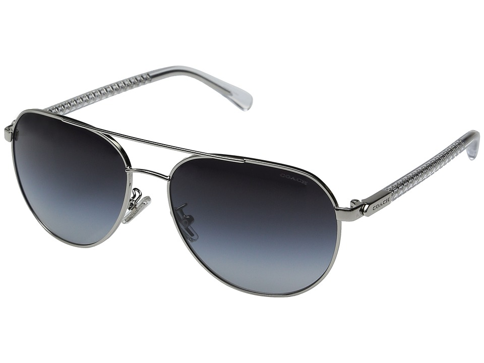 COACH - 0HC7053 (Silver Crystal/Light Grey Gradient) Fashion Sunglasses