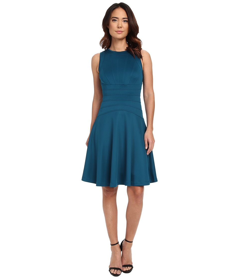 Calvin Klein - Flare Dress w/ Seams (Cypress) Women's Dress