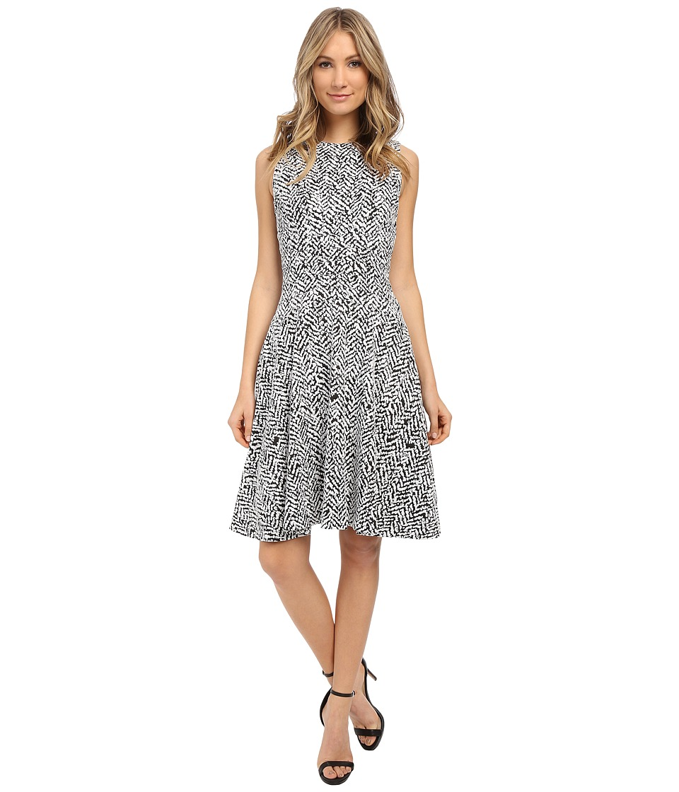 Calvin Klein - Fit Flare Dress (Zebra Jaquard) Women's Dress