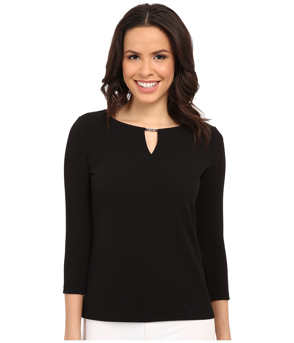 Calvin Klein - 3/4 Sleeve Textured Top (Black) Women's Blouse