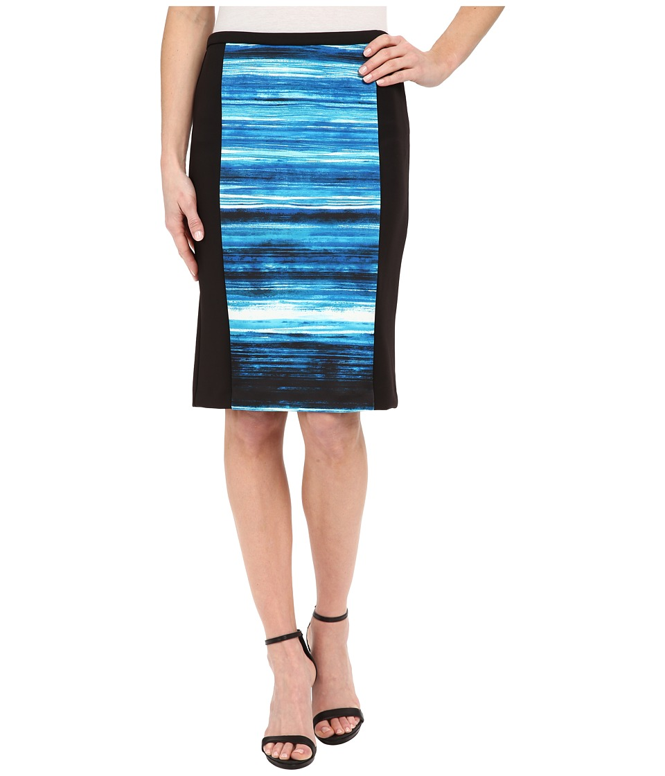 Calvin Klein - Print Blocked Pencil Skirt (Lagoon/Celestial Multi) Women's Skirt plus size,  plus size fashion plus size appare