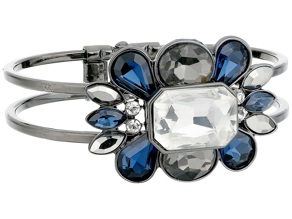 GUESS - Clustered Stone Hinge Bangle (Hematite/Crystal/Blue) Bracelet