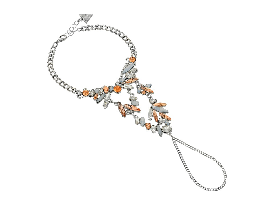 GUESS - Clustered Stone Wrist to Finger Bracelet (Silver/Crystal/Peach) Bracelet