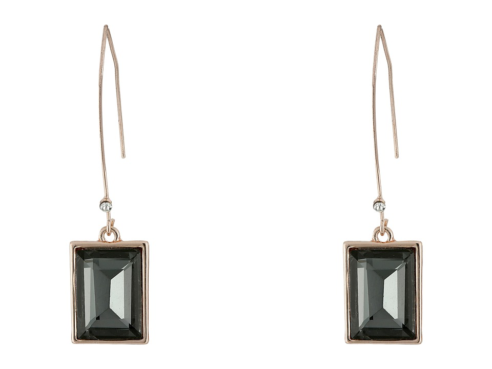 GUESS - Emerald Cut Stone on Wire Drop Earrings (Rose Gold/Black Diamond) Earring