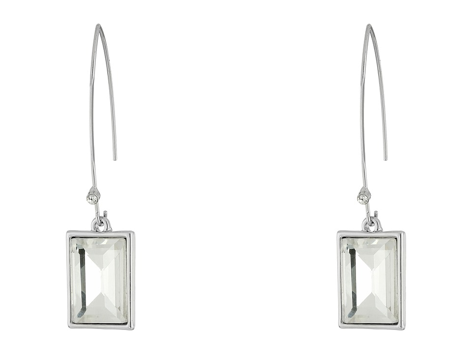 GUESS - Emerald Cut Stone on Wire Drop Earrings (Silver/Crystal) Earring