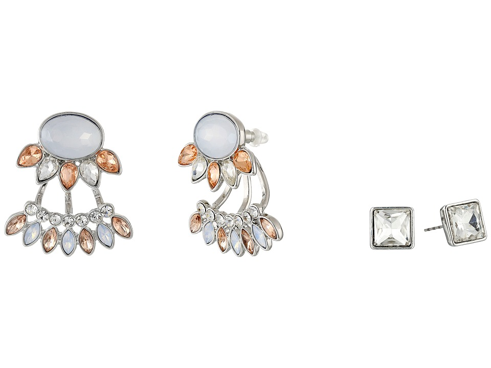 GUESS - Cluster Stone Button and Emerald Cut Stud Duo Earrings (Silver/Crystal/Peach) Earring