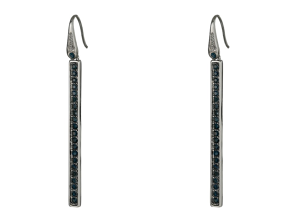 GUESS - Stone Stick Drop Linear Earrings (Hematite/Aqua) Earring