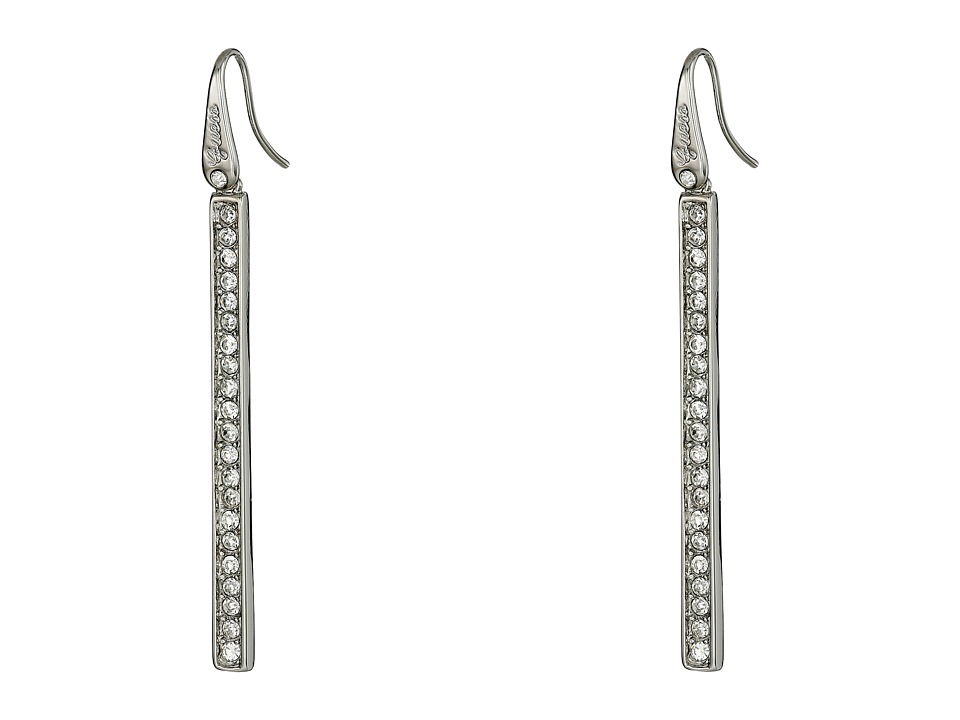 GUESS - Stone Stick Drop Linear Earrings (Silver/Crystal) Earring