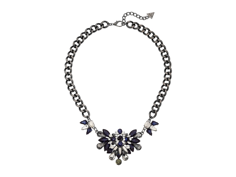 GUESS - Clustered Stone Front on Chunky Chain Necklace (Hematite/Crystal/Blue) Necklace