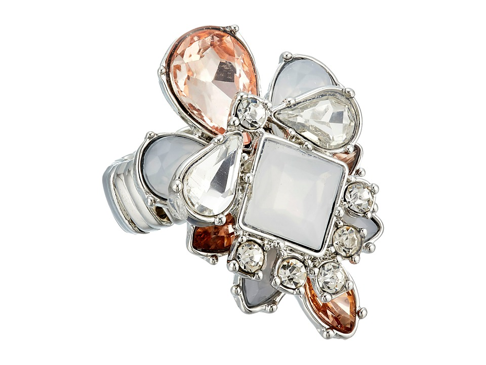 GUESS - Stone Cluster Stretch Ring (Silver/Crystal/Peach) Ring