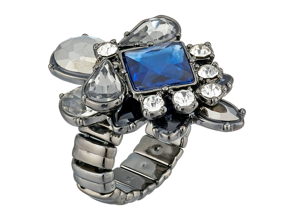 GUESS - Stone Cluster Stretch Ring (Hematite/Crystal/Blue) Ring
