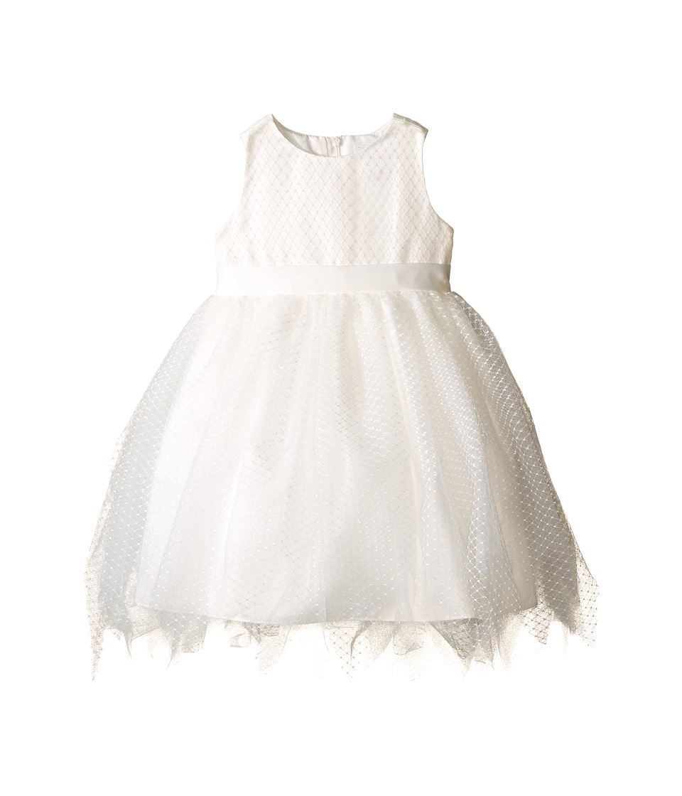 Us Angels - Dot Netting Sleeveless Dress w/ Tiered Hanky Hem Skirt (Infant) (Ivory) Girl's Dress
